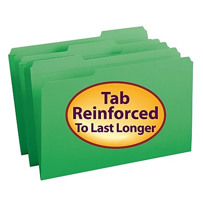 Smead File Folder, Reinforced 1/3-Cut Tab, Legal Size, Green, 100 per Box (17134)
