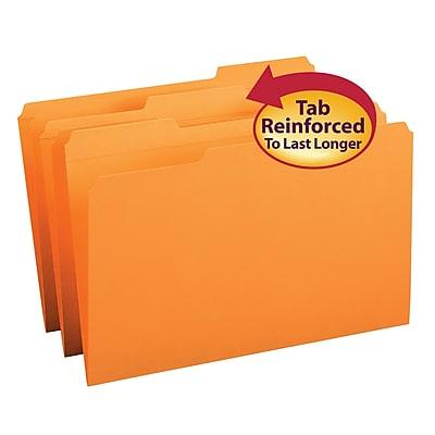 Smead File Folder, Reinforced 1/3-Cut Tab, Legal Size, Orange, 100/Box (17534)