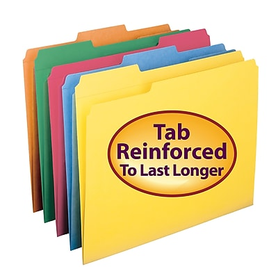 Smead File Folder, Reinforced 1/3-Cut Tab, Letter Size, Assorted Colors, 100/Box (11993)