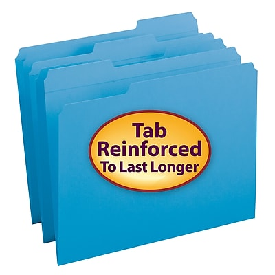 Smead File Folder, Reinforced 1/3-Cut Tab, Letter Size, Blue, 100/Box (12034)
