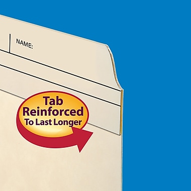Smead® File Folders, Reinforced 2/5-Cut Right Position Printed Tab, Guide Height, Letter Size, Manila, 100/Box (10388)