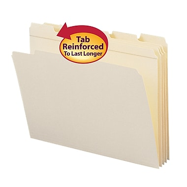 Smead® File Folder, Reinforced 1/5-Cut Tab, Letter Size, Manila, 100/Box (10356)