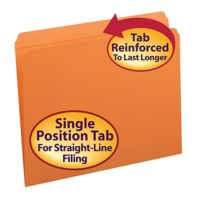 Smead File Folder, Reinforced Straight-Cut Tab, Letter Size, Orange, 100 per Box (12510)