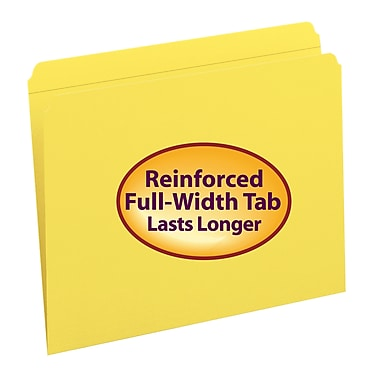 Smead® File Folder, Reinforced Straight-Cut Tab, Letter Size, Yellow, 100 per Box (12910)