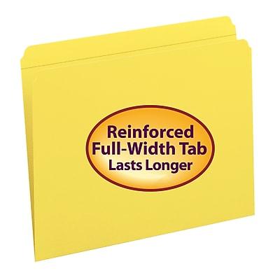 Smead® File Folder, Reinforced Straight-Cut Tab, Letter Size, Yellow, 100 per Box (12910)