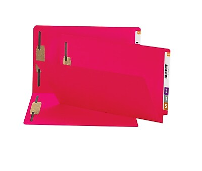 Smead® End Tab Fastener Folder, Reinforced Straight-Cut Tab, 2 Fasteners, Legal Size, Red, 50 per Box (28740)