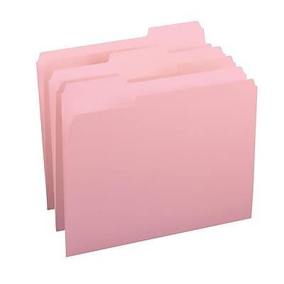 Smead® File Folder, 1/3-Cut Tab, Letter Size, Pink, 100/Box (12643)