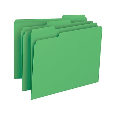 Smead® 3 Tab File Folder Letter Size Green 100/box (12143)