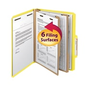 "Smead® Classification File Folder, 2 Divider, 2"" Expansion, Letter Size, Yellow, 10/Box (14004)"