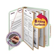 """Smead® Pressboard Classification File Folder with SafeSHIELD® Fasteners, 3 Dividers, 3"""" Exp., Letter, Gray/Green, 10/Box (14091)"""