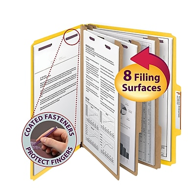 Smead Pressboard Classification Folder SafeSHIELD Fasteners, 3 Dividers, 3