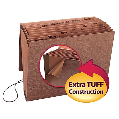 Smead TUFF Expanding File, Monthly (Jan.-Dec.), 12 Pockets, Flap and Elastic Cord Closure, Letter Size, Redrope Stock (70388)