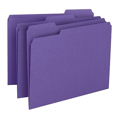 Smead File Folder, 1/3-Cut Tab, Letter Size, Purple, 100/Box (13043)
