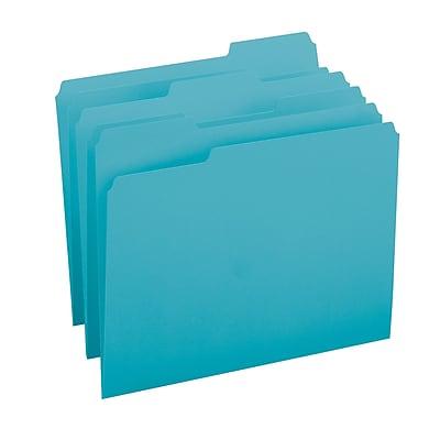 Smead® File Folder, 1/3-Cut Tab, Letter Size, Teal, 100/Box (13143)