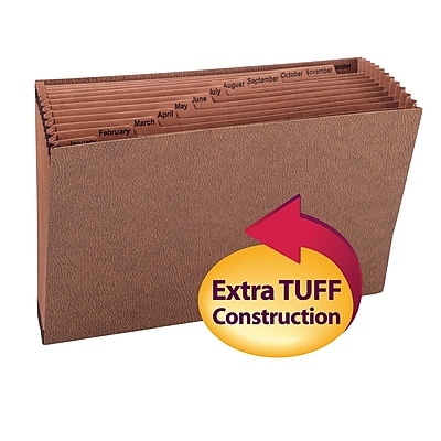 Smead TUFF Expanding File, Monthly (Jan.-Dec.) 12 Pockets, Legal Size, Redrope-Printed Stock (70490)