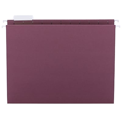 Smead Adjustable 5-Tab Colored Hanging File Folders, Letter, Maroon, 25/Bx (64073)