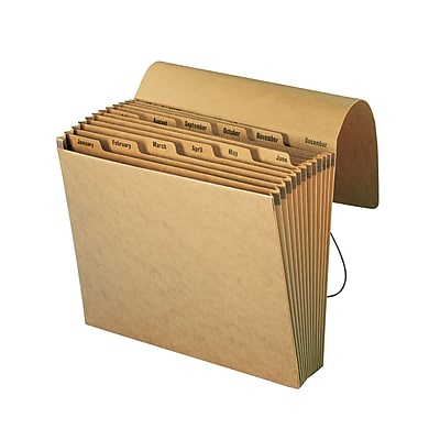 Smead Expanding File, Monthly (Jan.-Dec.), 12 Pockets, Flap & Elastic Cord Closure, Letter, Kraft (70186)