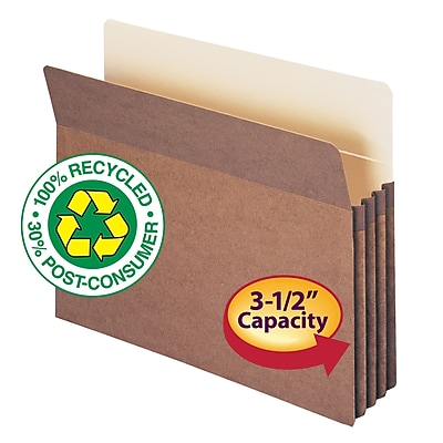 Smead 100% Recycled Reinforced Straight Cut File Pockets, 3-1/2