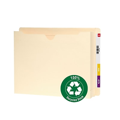Smead® 100% Recycled End Tab File Jacket, Reinforced Straight-Cut Tab, 2