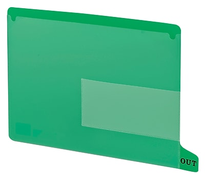 Smead End Tab Poly Out Guide, Two Pocket, Bottom Position Tab, Letter Size, Green, 25 per Box, (61952)