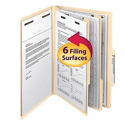 Smead 2/5-Cut Tab Classification Folders, Right of Center Position, 6-Fasteners, 2-Partitions, Legal, Manila, 10/Bx (19000)