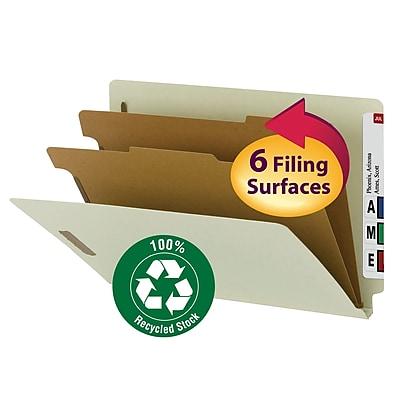 Smead End Tab Pressboard Classification File Folder, SafeSHIELD Fasteners, 2