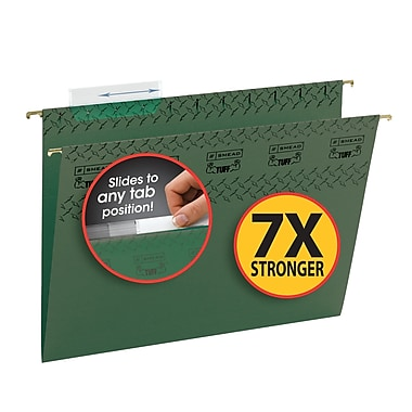 Smead® TUFF® Hanging File Folder with Easy Slide Tab, 1/3-Cut Sliding Tab, Letter Size, Standard Green, 20/Box (64036)
