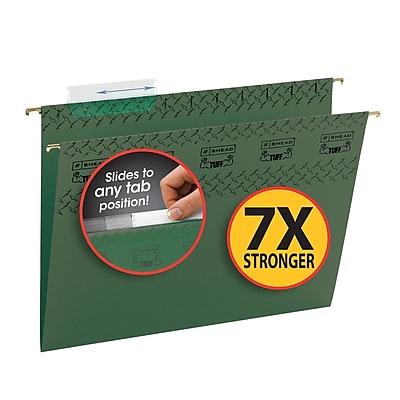 Smead TUFF Adjustable 3-Tab Hanging File Folders with Easy Slide? Tab, Letter, Standard Green, 20/Bx (64036)
