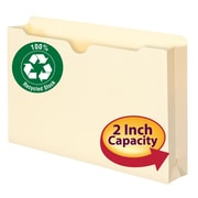 "Smead®  100% Recycled File Jacket, Reinforced Straight-Cut Tab, 2"" Expansion, Legal Size, Manila, 50 per Box (75607)"