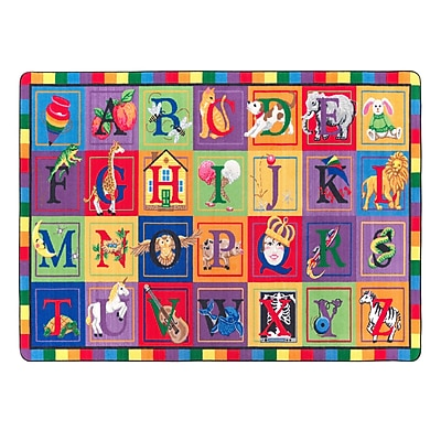 "Flagship Carpets Nylon, ABC Blocks, 5'10""x8'4"" Multi-Colored Rug (FE111-32A)"