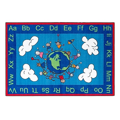 Flagship Carpets Nylon, Happy World, 4'x6' Multi-Colored Rug (CE189-22W)