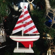 Handcrafted Nautical Decor Christmas Tree Ornament; Red