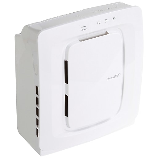 sheeraire small room hepa air purifier white ac 2136 staples. Black Bedroom Furniture Sets. Home Design Ideas