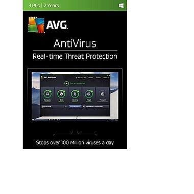 AVG – Logiciel Antivirus 2017, 3 utilisateurs, 2 ans, (téléchargement)