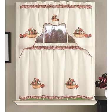 Daniels Bath Kitchen Curtain Set; Apple Blossom