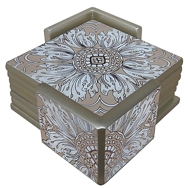 Arcadia Home Reverse Painted Mirror Coaster (Set of 6); Sand/Silver