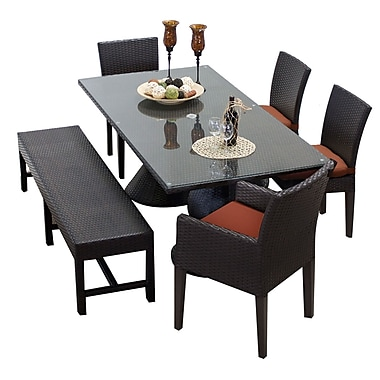 TK Classics Napa 6 Piece Dining Set w/ Cushions; Terracotta