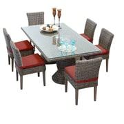 TK Classics Cape Cod 7 Piece Dining Set w/ Cushions; Terracotta