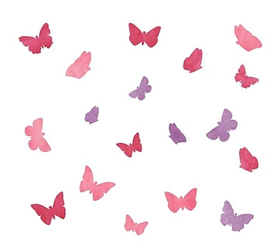 Eco Wall Decals 18 Piece Butterfly Wall Decal Set; Pink