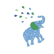 Eco Wall Decals 12 Piece Elephant Wall Decal Set; Blue