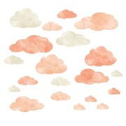 Eco Wall Decals 20 Piece Cloud Wall Decal Set; Coral/Ivory