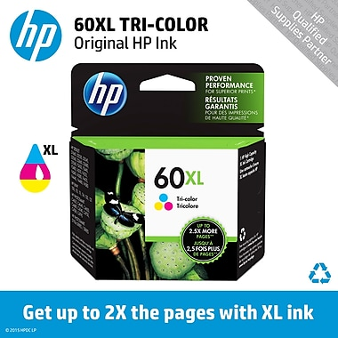 HP 60XL Tricolor Ink Cartridge (CC644WN), High Yield