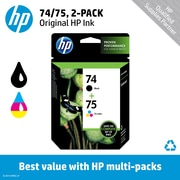 HP 74 Black/75 Tri-Color (CC659FN) Inkjet Cartridge Multi-pack (2 cart per pack)