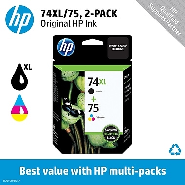 HP 74XL/75 High Yield Black and Standard Tricolor Ink Cartridges (CZ139FN), Combo 2/Pack