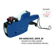 "Motex 6600L'ACE Labeling Gun, Double Line, 2 Letter, Month, Date, Bilingual, 10"" x 5"" x 1"""
