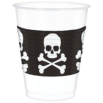 Amscan Skull and Crossbones Plastic Cup, 16oz, 2/Pack, 25 Per Pack (420097)