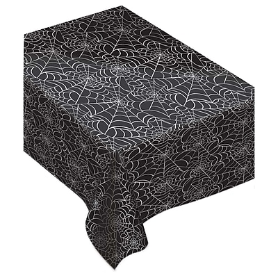 "Amscan Spider Web Flannel Back Tablecover, 52"" x 90"", 2/Pack (570005.90)"