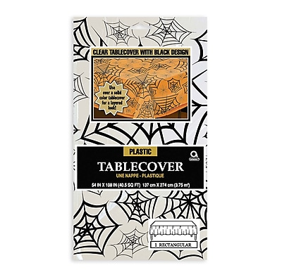 Amscan Spider Web Tablecover, Clear, 54