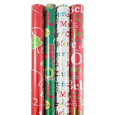 JAM Paper® Christmas Holiday Gift Wrapping Paper, 90 s, Red and Green Tree, Stripes, Sparkly Red, 4/Pack (526IG70141g)