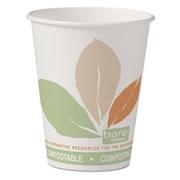 Solo Bare Eco-Forward Pla Paper Hot Cups, 8 Oz, White W/leaf Design, 50/pack